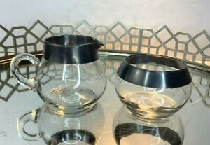 Cream and Sugar set Clear Silver Band Vintage Glass Serving Dining 2 pc #N1
