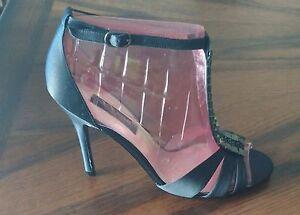 Nina Ulrica Womens Size 7.5M Black Satin Rhinestone Open Toe Heels New In Box