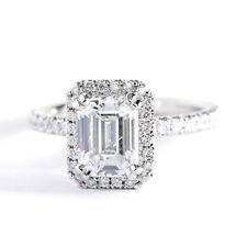 1.35 Carats SI1 F Emerald Cut Halo Natural Diamond Engagement Ring Platinum