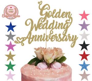 Golden Wedding Anniversary Glitter Cake Topper Decoration for 50th Anniversary