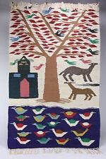 """Woven Coarse Wool Area Rug 48"""" x 30"""" Southwestern Folk Art Birds House Tree"""