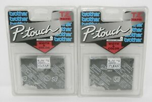 "x2 Genuine BROTHER P-Touch OEM TZ121 3/8"" (9mm) Tape BLACK on CLEAR Sealed"
