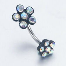 Women Flower Crystal Navel Ring Belly Button Rings Dangle Body Piercing Jewelry