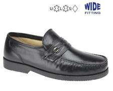 Mens Wide EEE Fit Soft Leather Loafers Saddle Trim Moccasin Slip On Shoes Black