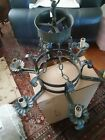 Vintage Iron Gothic Italy Chandelier Large Heavy Six Light Fixture