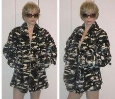 MONTEREY FASHIONS PLUSH ABSTRACT PANDA BLACK & WHITE FAUX-FUR COAT JACKET M S