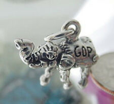 925 Sterling Silver 3D Republican GOP Elephant Charm