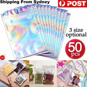 50PCS Clear Golden Zip Seal  Bags Aluminum Foil Resealable Valve Zipper Pouch AU