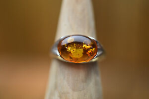 sterling silver baltic amber ring size r