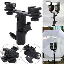 Metal Flash Bracket 2 Hotshoes Umbrella Holder Swivel Light Stand for Speedlight