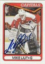 MIKE LIUT Autographed Signed 1990-91 Topps card Washington Capitals COA