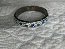 Vintage Sterling Silver Cloisonne Bangle Bracelet Marked India 100t signed Vms