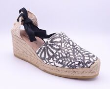 Gaimo Women's Valenci.17 Black White Sequinned Wedge Sandals Size UK 6 EUR 39