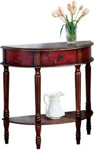 CONSOLE TABLE RED ANTIQUE BRASS DISTRESSED POPLAR HAND-PAINTED PAINTED 1