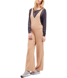 Free People Womens V-Neck Knit OB653779 Jumpsuit Relaxed Caramel Brown Size XS
