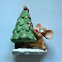 Homco Christmas Mouse Porcelain Figurine Decorating Christmas Tree #8905 EUC