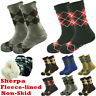 Mens Thick Cozy Fuzzy Knit Non-Skid Sherpa Fleece-lined Grid Slipper Socks LOT
