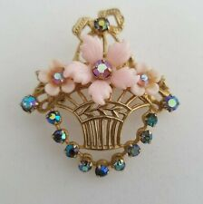 Rare Vintage CORO Pink Celluloid Flower Basket Brooch ~ Signed AB Rhinestone Pin