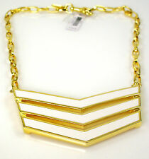 NEW! RARE Coach Statement Runway Chevron Link Necklace White Enamel Gold Pendant
