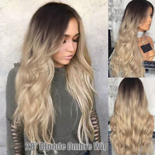 "28"" Womens Ladies Blonde Ombre Long Curly Hair Wigs Natural Wavy Cosplay Wig UK"