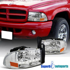 1997-2004 Dodge Dakota SMD LED Headlights Head Lamps Chrome