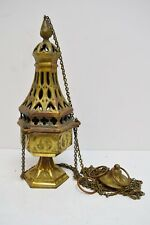 + Vintage Brass Church Censer (Thurible) Triple Chain Incense Burner + (CU357)