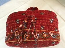 VERA BRADLEY PROVINCIAL RED ROUND ZIPPERED HOME & AWAY TRAVEL COSMETIC CASE
