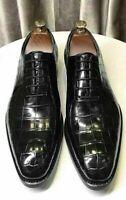 Chaussures habillées à lacets Oxford en cuir noir véritable pour hommes faits à