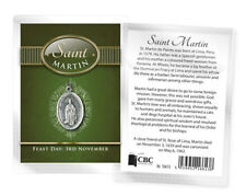 SAINT MARTIN DE PORRES MEDAL AND BIOGRAPHY CARD IN A PLASTIC KEEPSAKE WALLET