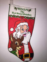 Robert L. May Santa & Rudolph The Red Nosed Reindeer Christmas Felt Stocking