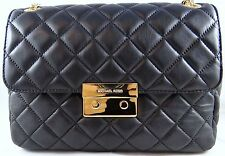 MICHAEL KORS SLOAN QUILTED LEATHER EXTRA LARGE CHAIN SHOULDER BAG BLACK/GOLD