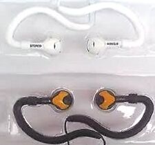 New 2 x Earphones White & Black/Orange Headphones Gym Sports Jogging Mp3 iPod