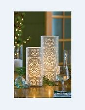 Shabby Chic Moroccan Style White Porcelain Cut Out Cylinder Table Desk Lamp