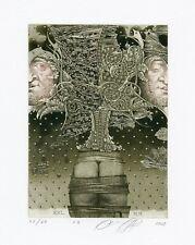 Nude, Surrealistic Limited Edition Ex libris Etching by Juri Jakovenko, Belarus
