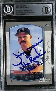 """2000 Bowman JIM MORRIS """"The Rookie"""" Signed Card #164 SLABBED BAS Witness"""