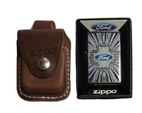 """Zippo Z174594,  """"Ford"""" High Polish Chrome Finish Lighter With Leather Pouch"""