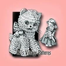 Vintage Crochet Kitten Cat Pattern ~ a stuffed animal kitty with loopy fur