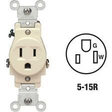 10-Leviton 15A Ivory Commercial Grade 5-15R Shallow Single Outlet S01-5015-KIS