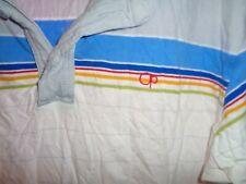 90s L/XL VTG Mens Ocean Pacific OP rainbow stripe beach polo shirt SOFT surfing
