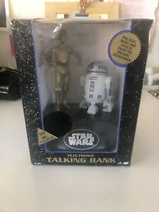 1995 Electronic Star Wars R2D2 and C3PO Talking Bank-NEW