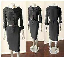 Sheath Belted Vintage 40s 50s Pencil Midi Button Puritan Collar Black Dress M