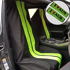 2PCS Throw Over Slip On Car Seat Cover Black Green & Seat Belts Shoulder Pads