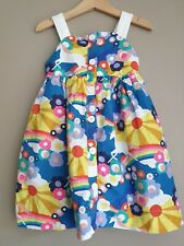Mini Boden Girl's Rainbow Unicorn Floral Summer Dress Size 3 to 4 Years