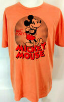 Disney Mickey Mouse Mens XL T Shirt Short Sleeve Graphic Tee Orange Black Red