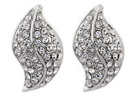 CLIP ON EARRINGS - silver plated stud with clear crystals  - Willow S