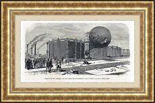 Antique print hot air balloon / gaz de la Villette 1875 holzstich Heißluftballon