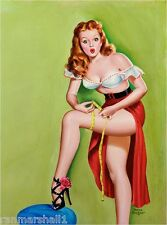 1940s Pin-Up Girl Thigh Measurement Picture Poster Print Art Pin Up
