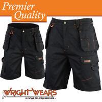 Mens Cargo Redhawk Pro Work Shorts Black Multi Pockets Waist 34