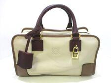 Auth LOEWE Amazona 28 352.62.A03 Ivory Brown Bordeaux Leather Handbag
