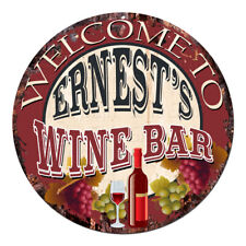 Cmwb-0086 Welcome to Ernest'S Wine Bar Chic Tin Sign Man Cave Decor Gift